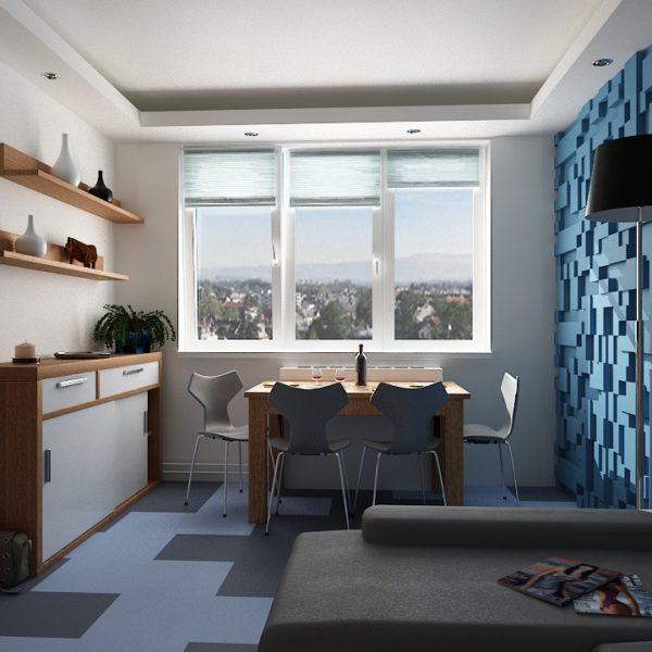 Obývací pokoj s využitím 3D panelů