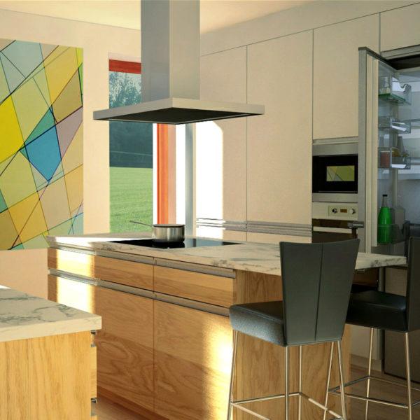 Dýhované kuchyně s mramorovou pracovní deskou
